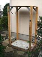 DIYした部品着脱式の温室、オフシーズンの姿