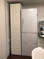 キッチンの凹凸にピッタリはまる変形の収納棚のDIY完成品