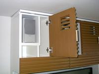 自作のAV多機能収納棚、スピーカー収納部分