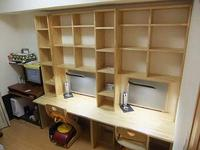 壁面収納付の学習机完成